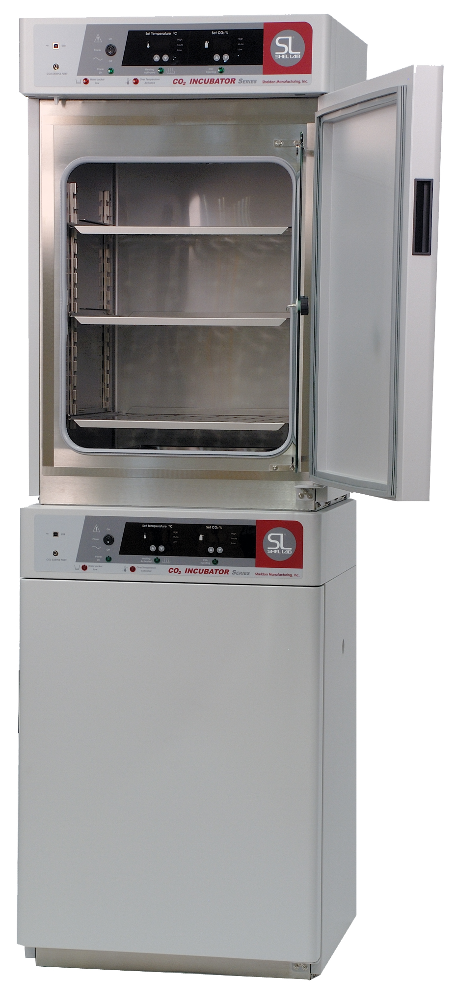 basic co2 water jacketed incubator  dual stacked