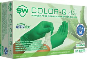 Color-Q Aloe Nitrile Powder-Free Exam Gloves