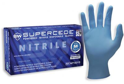 Supercede S5P Nitrile Powdered Gloves